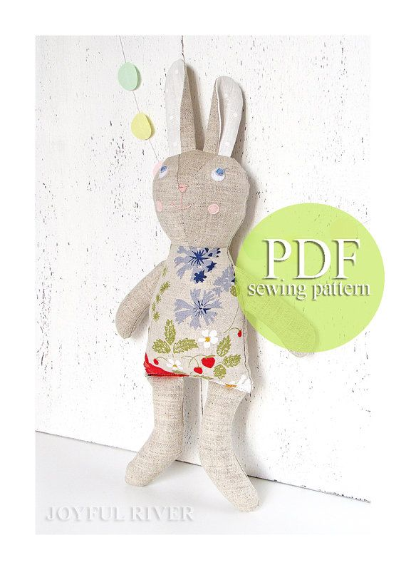 Stuffed toy bunny pdf sewing pattern - Easter bunny rabbit hare pdf ...