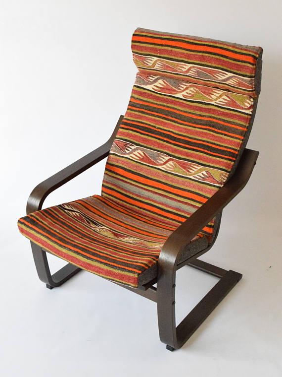 Ikea Slipcovers, Kilim Chair Cover, Ikea Rug, Poang Chair Covers, Bohemian  Cushion