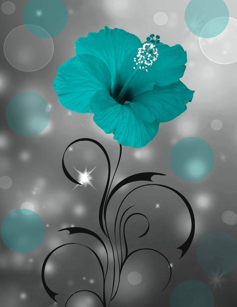 Teal Gray Wall Art Teal Modern Flower Bedroom Bathroom Wall Etsy In 2020 Grey Wall Art Living Room Grey Wall Art Pictures