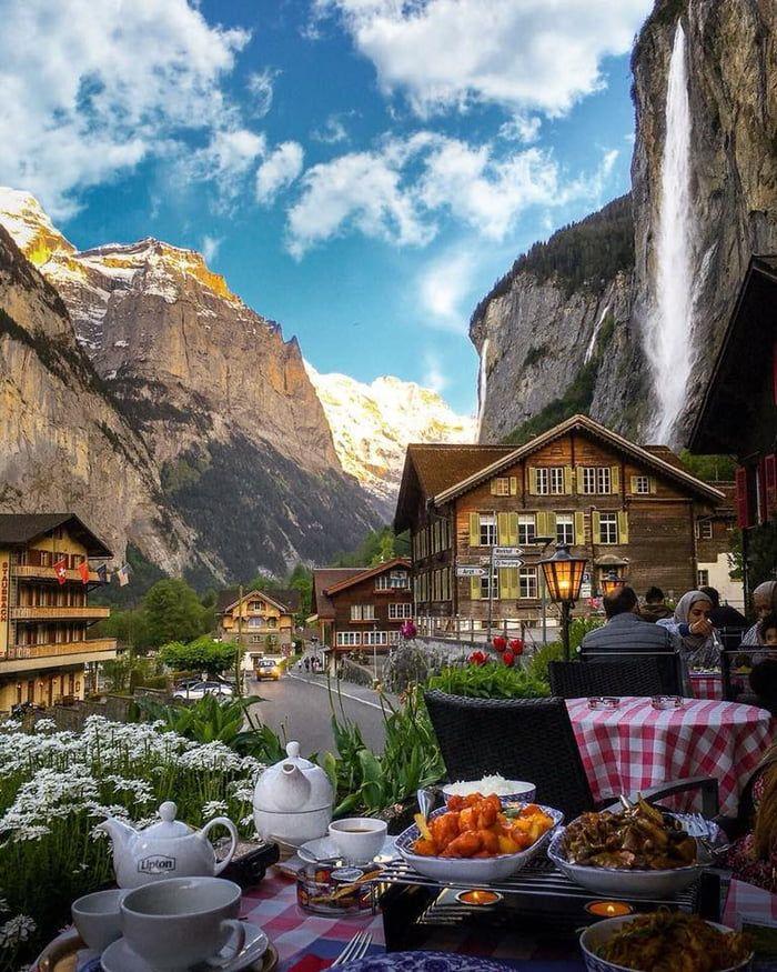 Having lunch under Staubbach Falls in Lauterbrunnen, Switzerland.