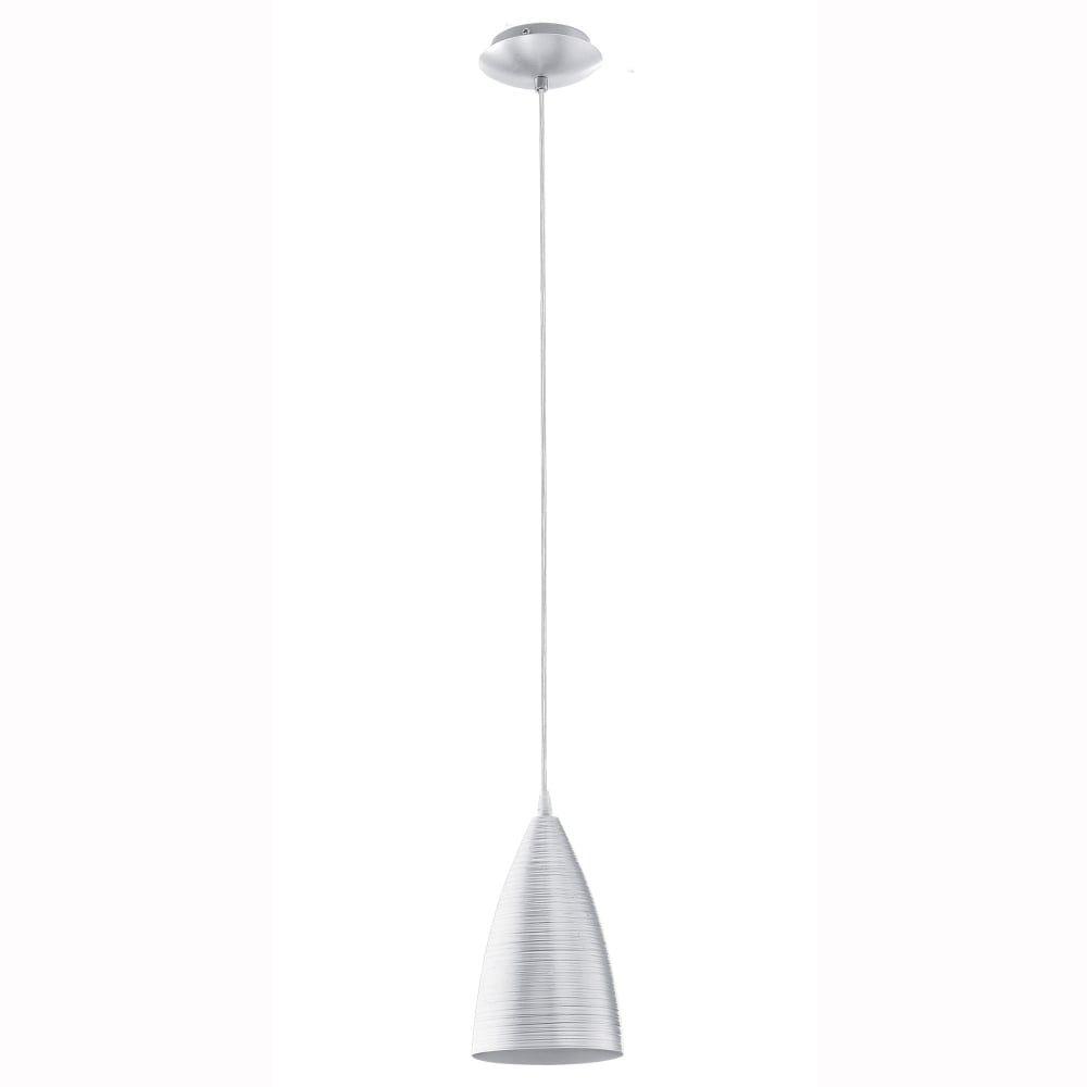 Eglo Garetto Single Brushed Aluminium Pendant Light - Fitting Type ...