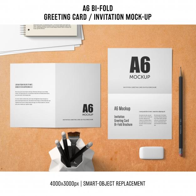Professional a6 bifold greeting card mockup PSD file