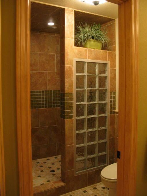 master shower with glass blocks