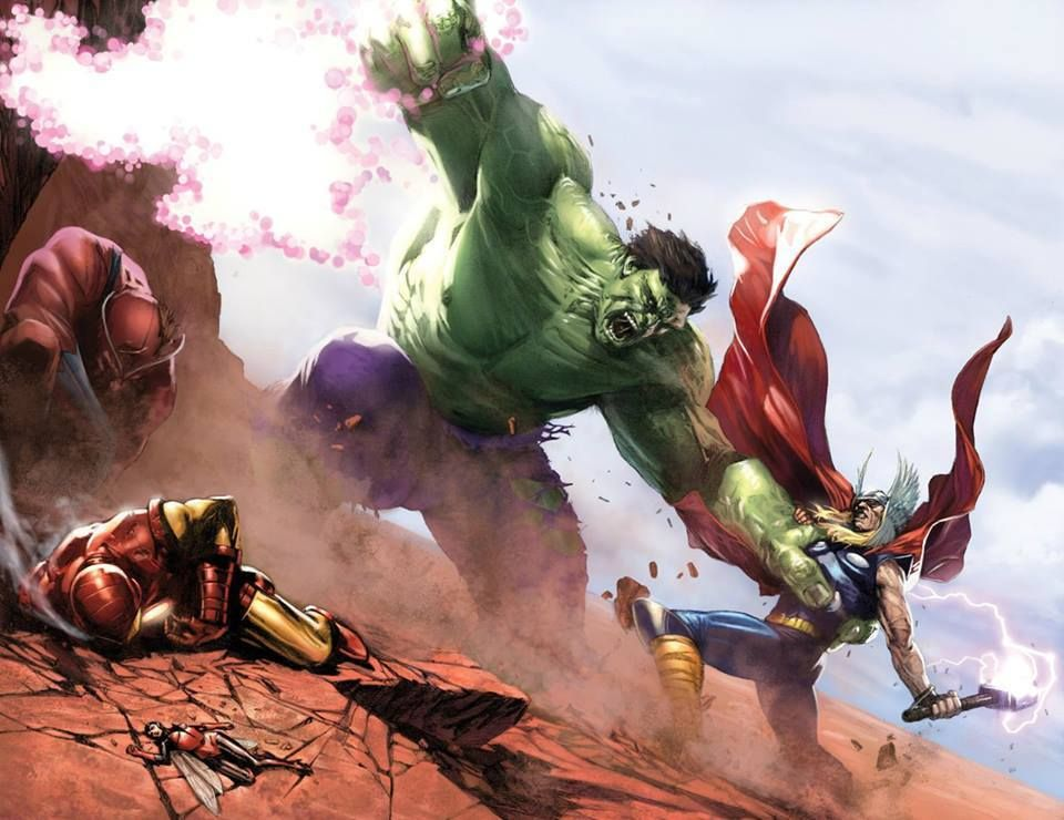 The Hulk vs. Thor, Iron Man, and Wasp by Gabriele Dell'Otto