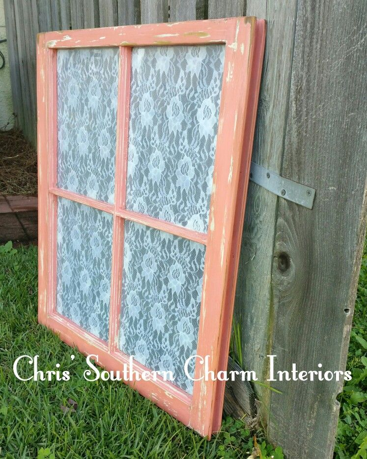 Hand Painted Vintage Window With Modge Podge Lace On Glass