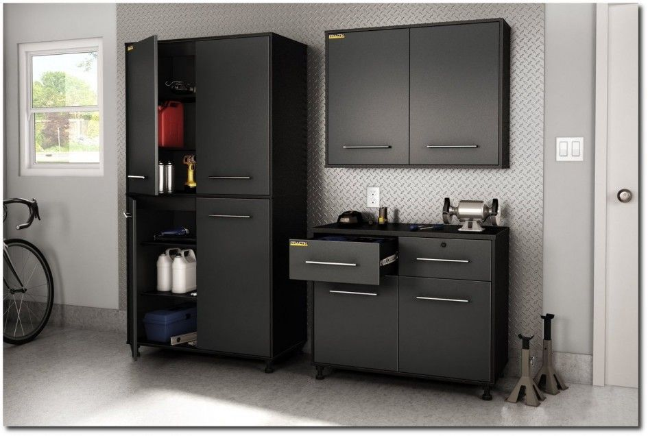 Superieur Tremendous Stack On Garage Storage Cabinets From Matte Black Metal Paint  For Rust Proofing With Aluminum Diamond Plate Backsplash And Delta Bench  Grinder