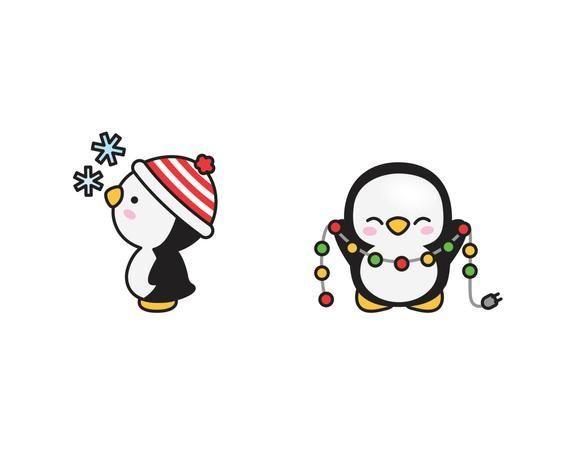 Premium Vector Clipart - Kawaii Christmas Penguins - Cute Christmas Penguins Clipart Set - Hi... Pr