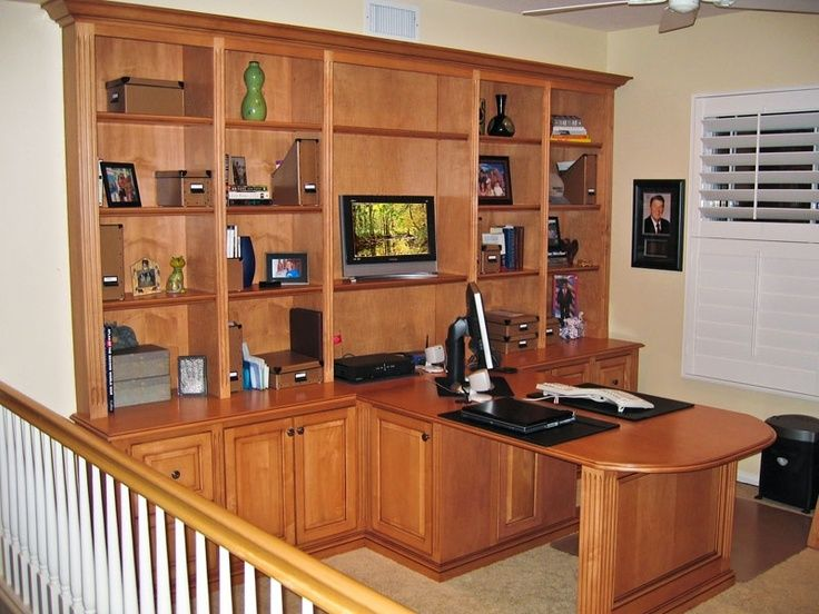 Bookcase With Double Sided Desk | Custom Two Sided Island Computer Desk,  File Cabinet ... | For The Home