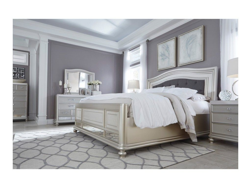 Coralayne King Panel Bed With Arched Upholstered Headboard And Silver Finish Frame By Signature