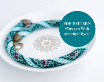 PDF-PATTERN - Dragon with amethyst eyes - for bead crochet necklace