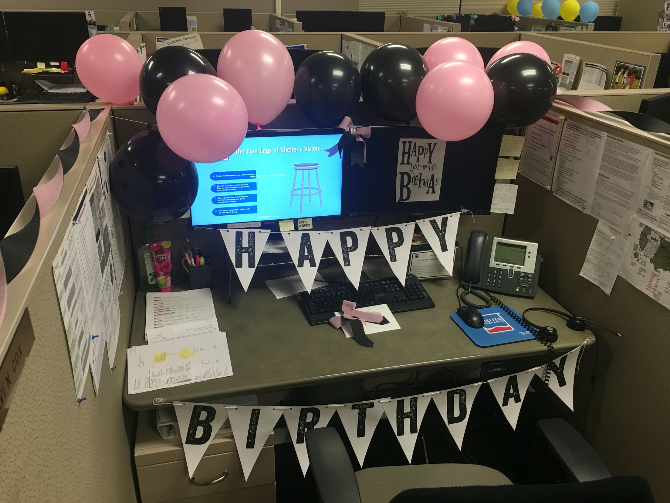 Birthday work decoration late birthday decoration pink and black