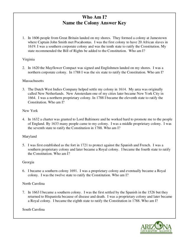 Who Am I Name The Colony Worksheet Lesson Planet Social Studies
