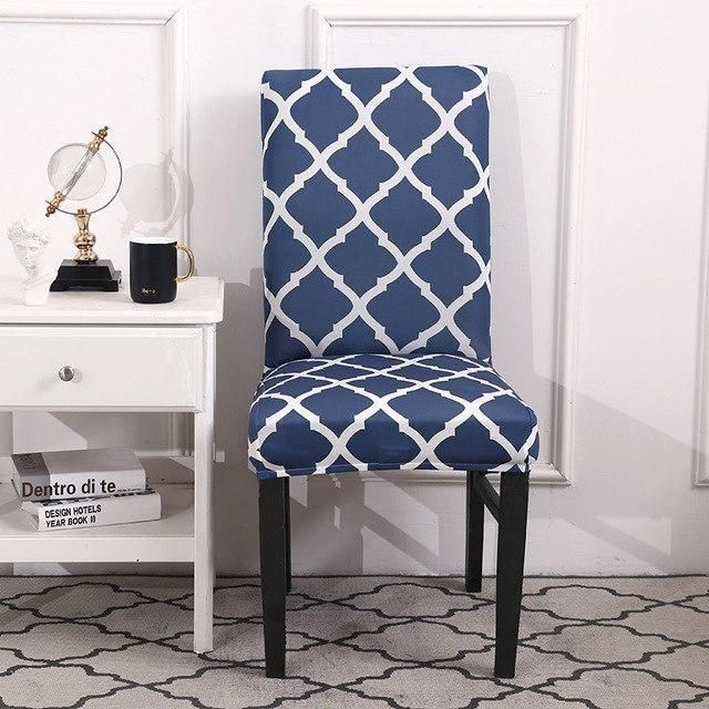 Elastic Dining Chair Cover Spandex Polyester Geometric ...