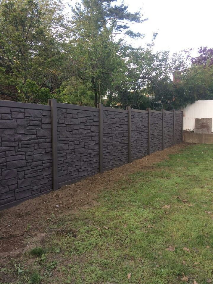 6 Dark Brown Vinyl Stone Fence Installed In New Hyde Park Ny By Liberty Fence Railing Vinyl Stone Backyard Landscaping Compound Wall Design