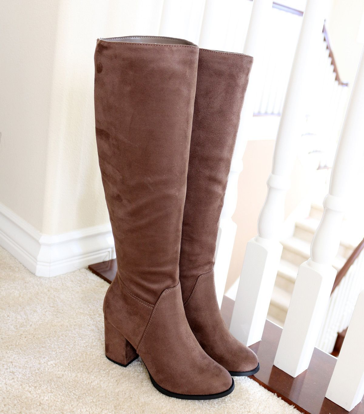 Divine taupe suede knee high boots | Boots | Zapatos, Botas