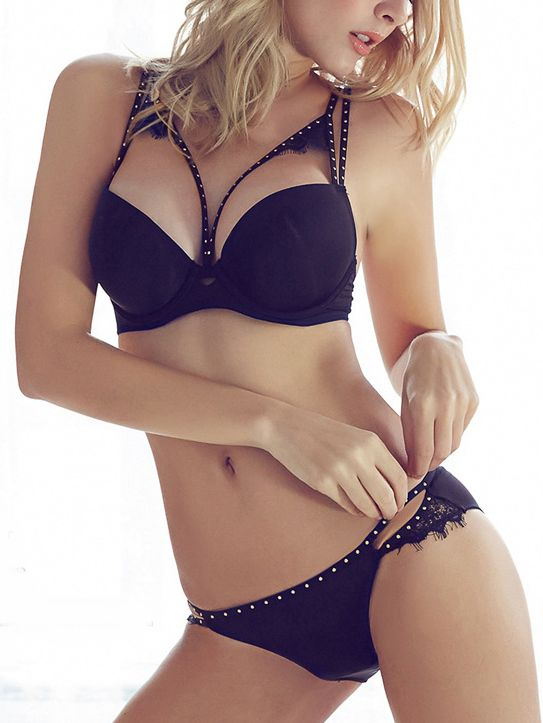 447c68c2565 Shop Cutout Studded Push-Up Bra Set - Black online. SheIn offers Cutout  Studded Push-Up Bra Set - Black   more to fit your fashionable needs.