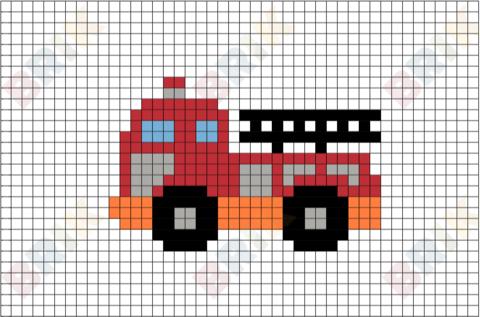 Fire Truck Pixel Art Pixel Art Knitting Charts Cross