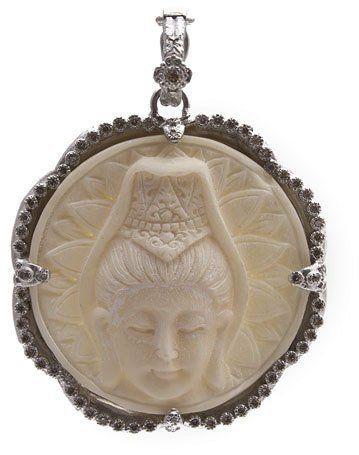 Armenta Bone Buddha Enhancer with Champagne Diamonds cMJdtyIE