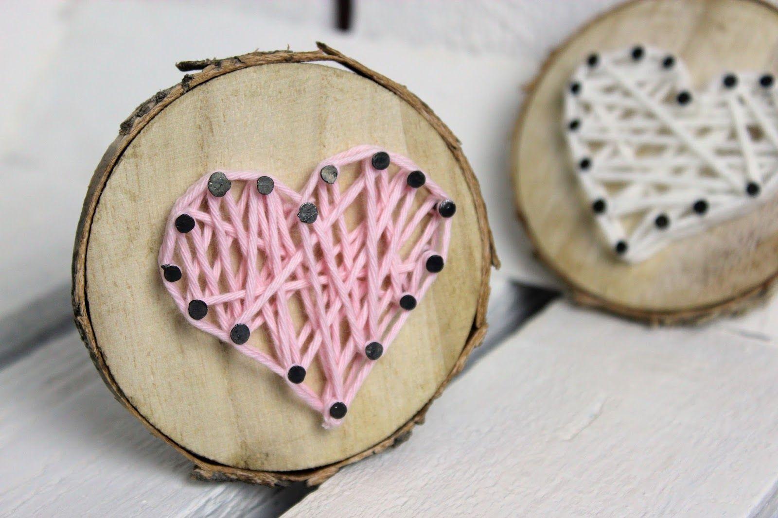 diy s es geschenk zum valentinstag baumscheibe mit herz in string art oma tag pinterest. Black Bedroom Furniture Sets. Home Design Ideas