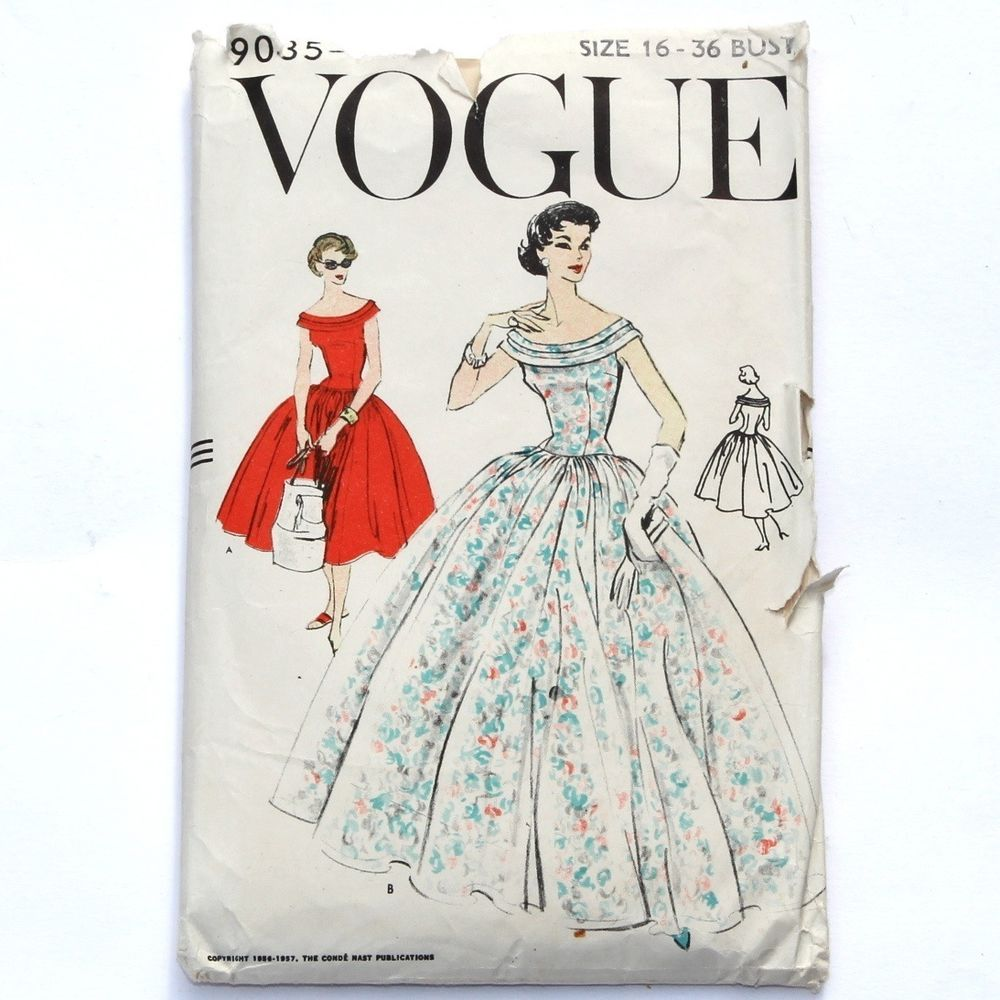 S vintage unew looku style evening gown day dress by vogue pattern