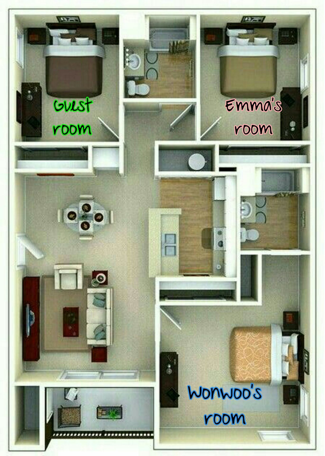 Daddyable Jeon Wonwoo Three Bedroom House Plan Home Design Plans Sims House Plans