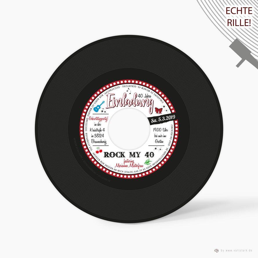 Schallplatte Als Einladungskarte Rockabilly Stars Original Vinyl Single Schallplatten Einladungen Einladungskarten