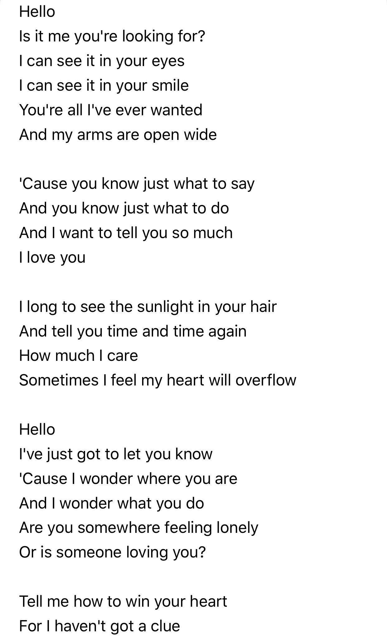 Hello Lionel Richie With Images Favorite Lyrics Hello Music