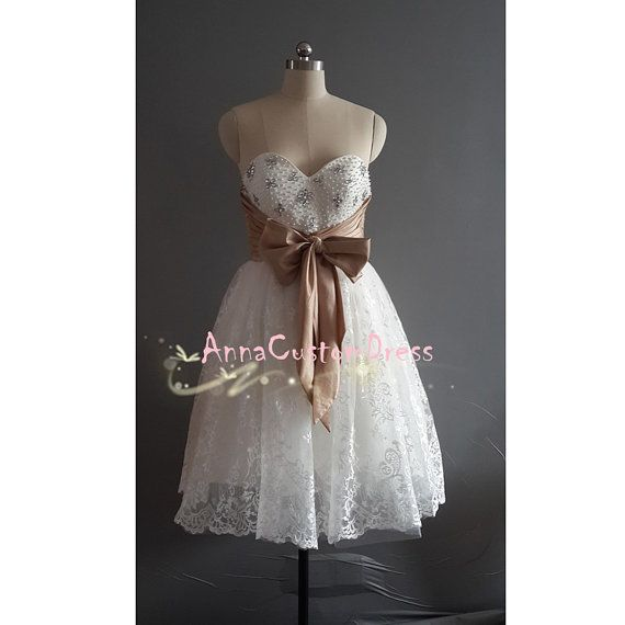 Short Ivory Bead Lace Prom Dress/Custom Wedding Party Dress/Sexy Cheap Graduation Dress /Homecoming Dress/ Evening Dress /Formal Dress