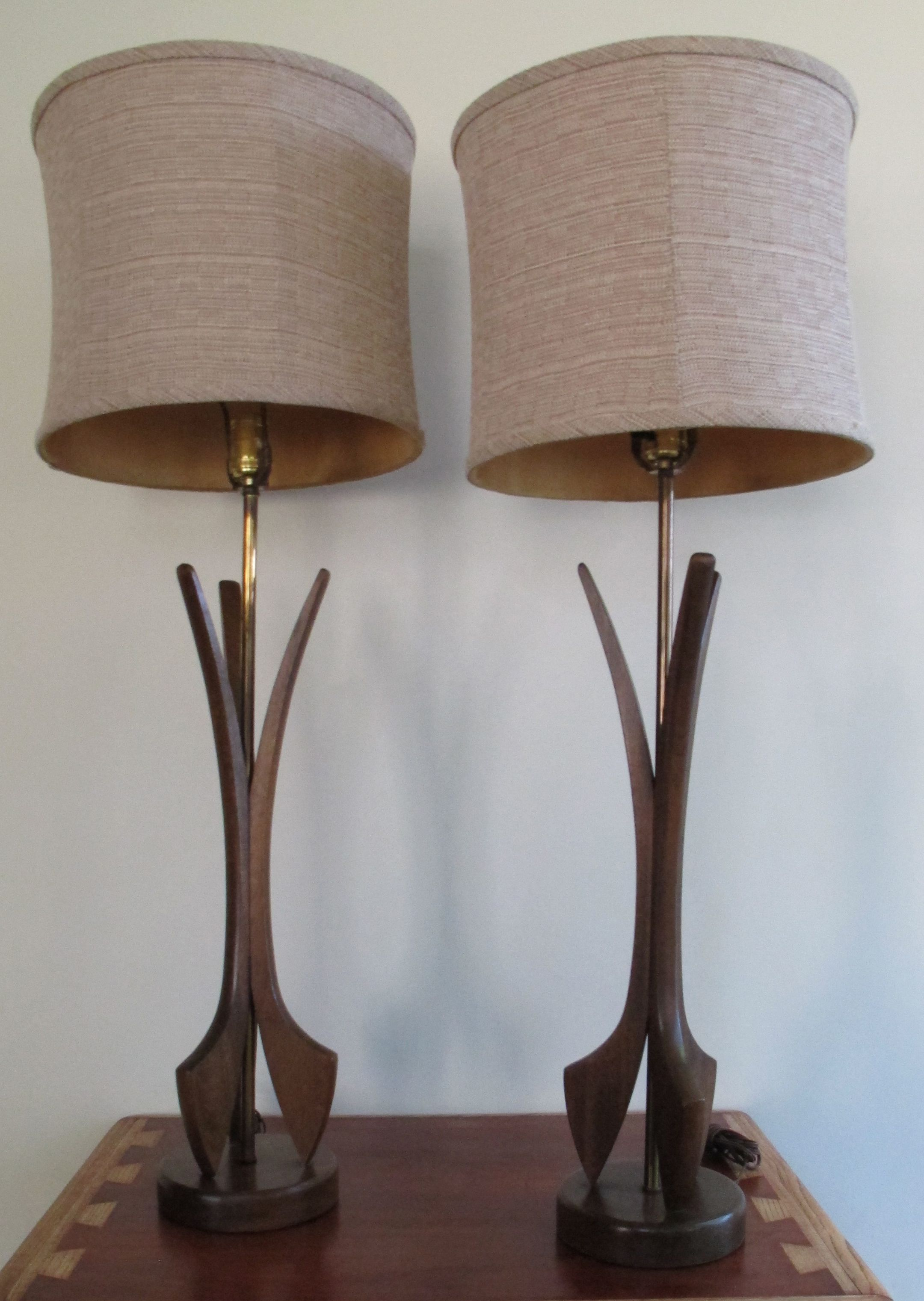 Pair Of Mid Century Sculpted Wood Lamps My First Apartment Mad Men