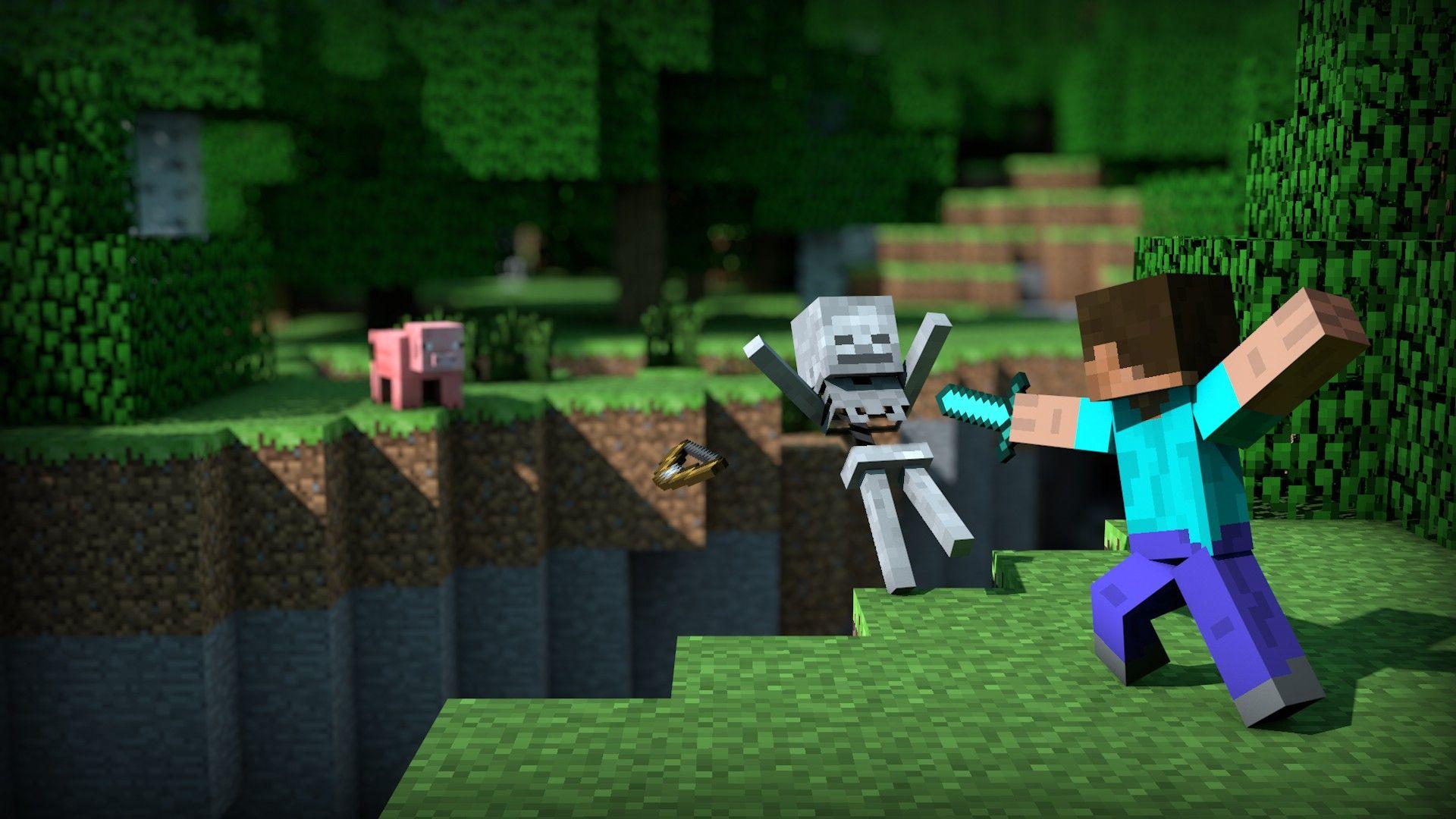 Minecraft Wallpaper Steve Kill Skeleton