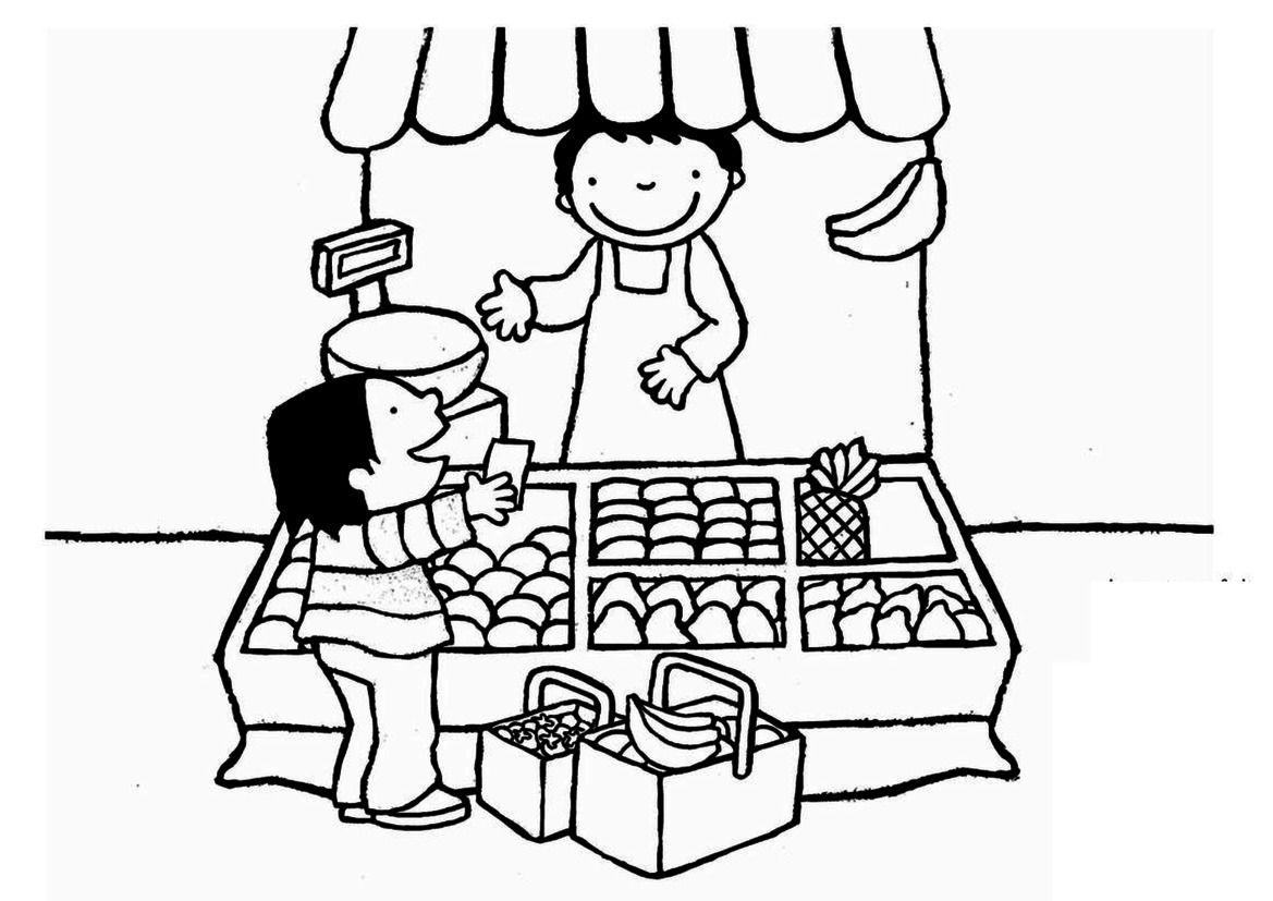Kleurplaat: Anna koopt fruit