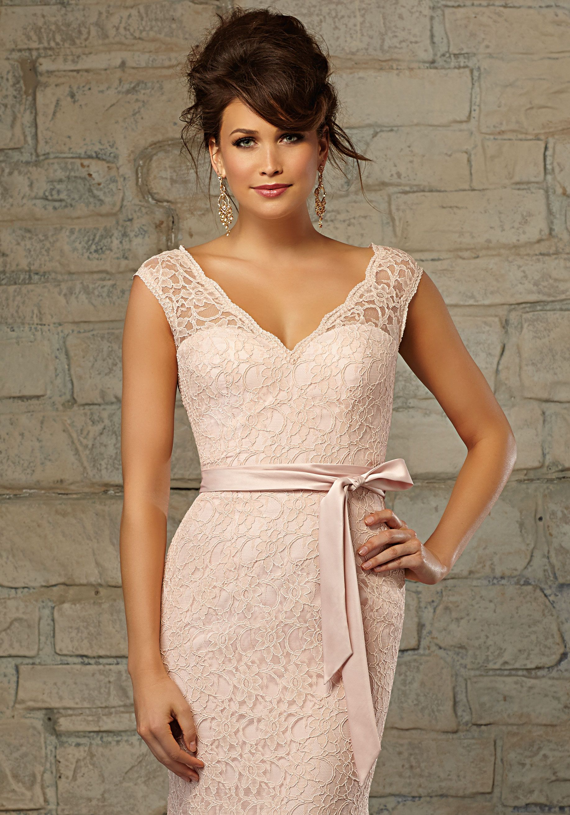 Lace Bridesmaid Dress with V-Neckline and Matching Satin Tie Sash | Morilee #lacebridesmaids
