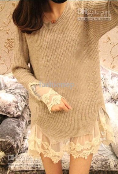 Wholesale 2013 Fashion Lace Hem Princess Low Round Collar Knitwear Pullover Beautiful Women Sweater JXZZ-02, Free shipping, $19.25/Piece   DHgate