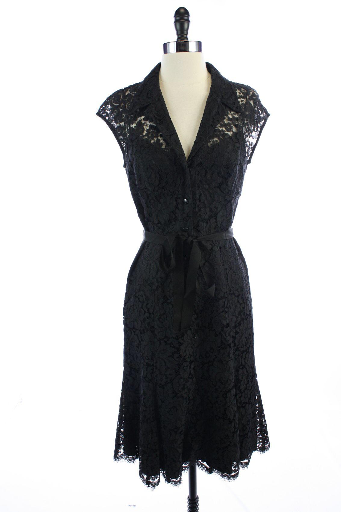 CARMEN MARC VALVO Black COTTON Lace FLARE A-Line DRESS S 4