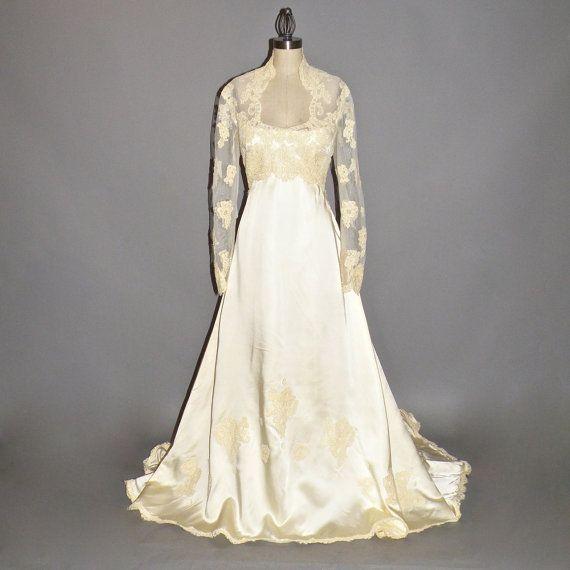 1970s Wedding Dress, Priscilla of Boston Wedding Gown, Satin and ...