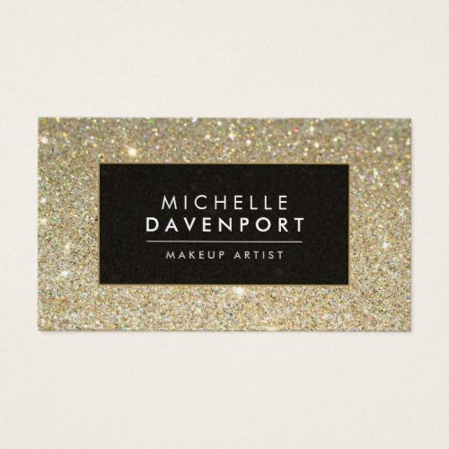 Classic Gold Glitter Makeup Artist Business Card Business Cards