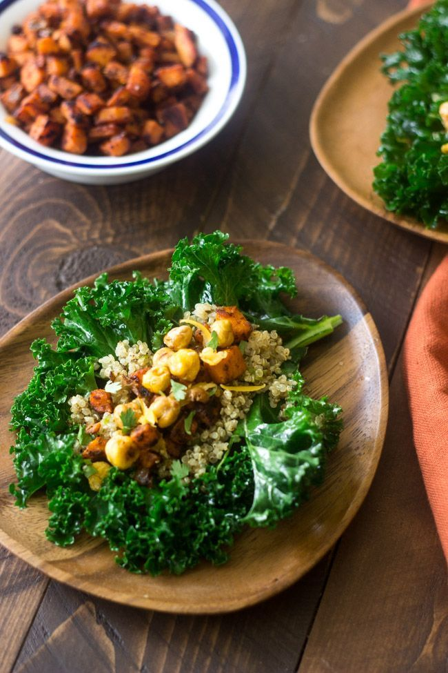 Mexican Quinoa Kale Wraps - Filled with crunchy chickpeas and sweet potatoes, these are perfect for  meatless monday | Foodfaithfitness.com | @FoodFaithFit