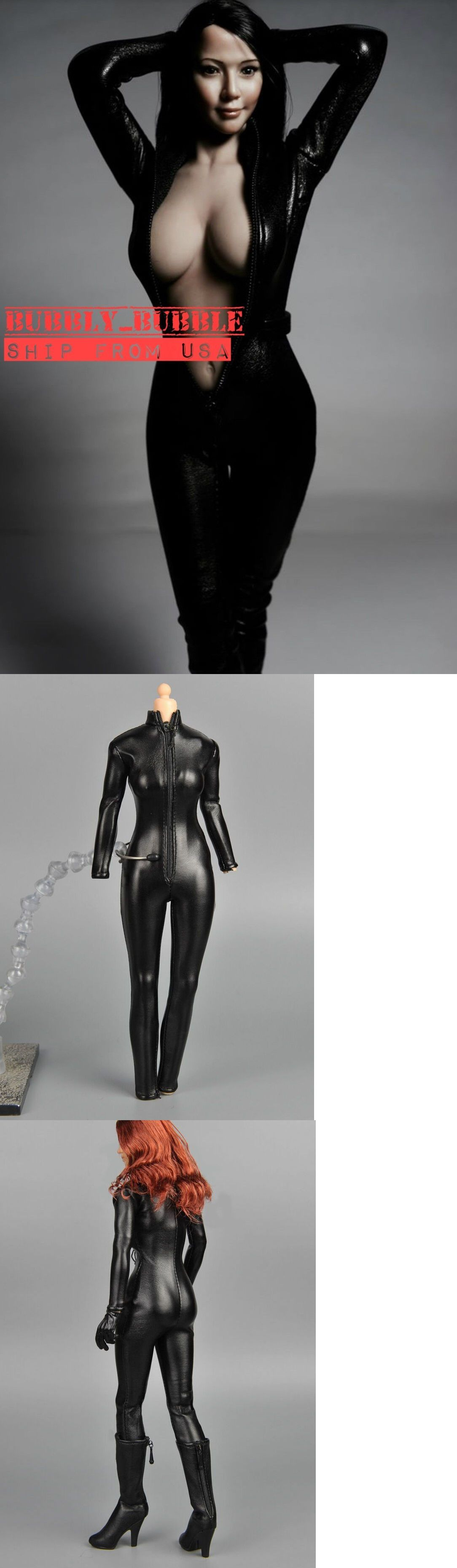 """1//6 One Piece Black Leather Jumpsuit For 12/"""" PHICEN Female Figure Doll ☆USA☆"""