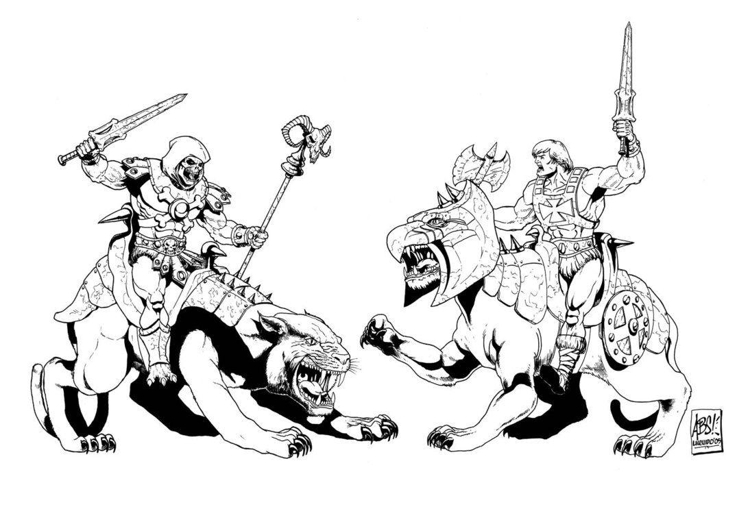 Skeletor And Panthor Vs He Man And Battle Cat Coloring Pages 80s Cartoons Coloring Books
