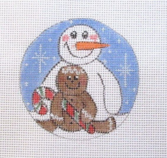 $10.95   Gingerbread & Snowman Buddies Christmas Ornament Handpainted Needlepoint Canvas #Unbranded