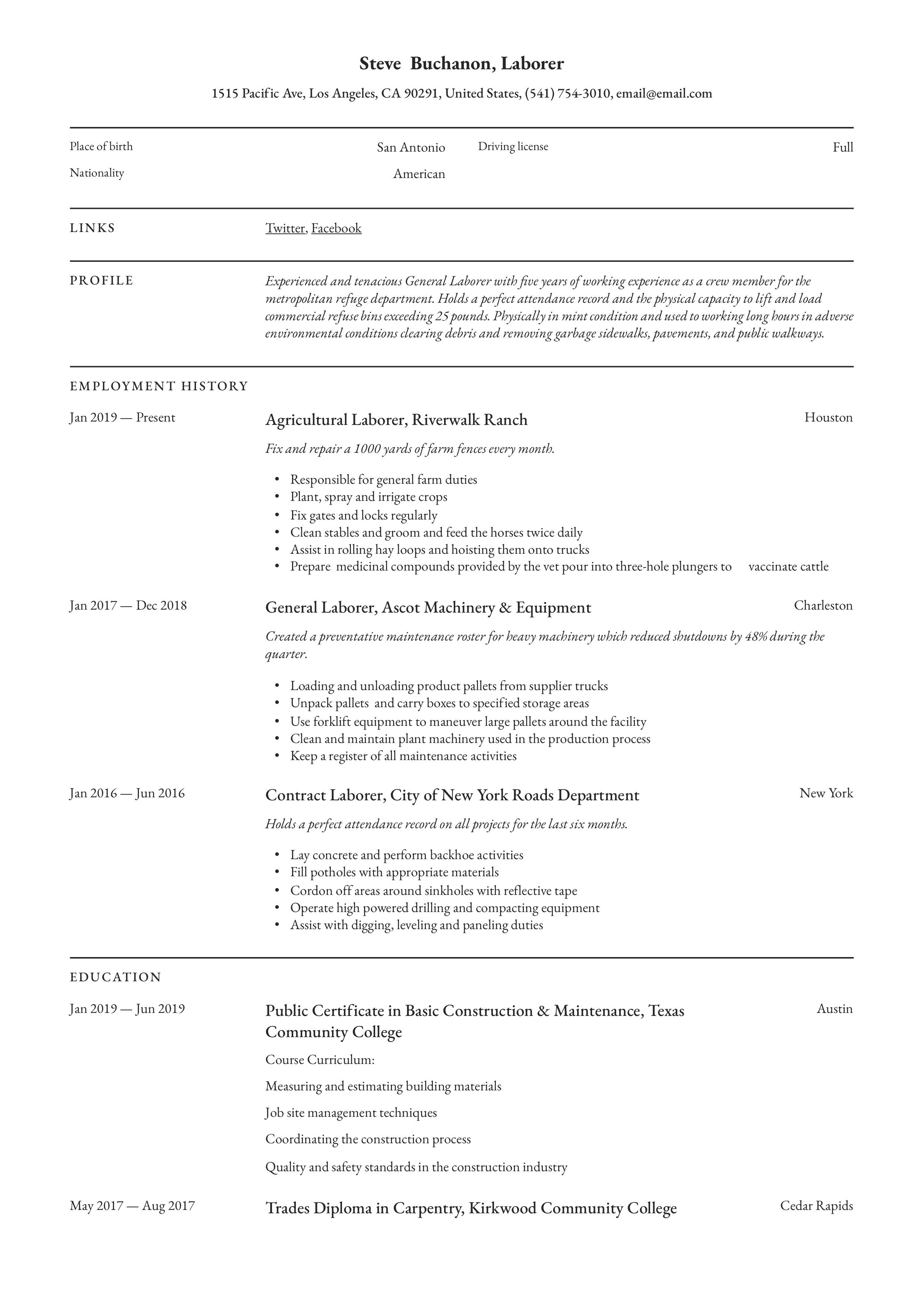 General Laborer Resume & Writing Guide in 2020 (With