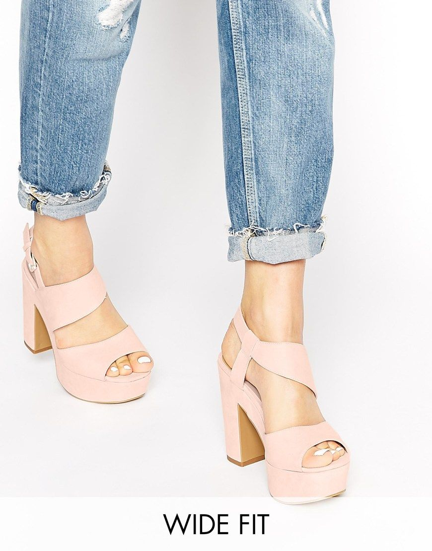 New Look Wide Fit Tipsy Pink Platform Heeled Sandals | Shoes ...