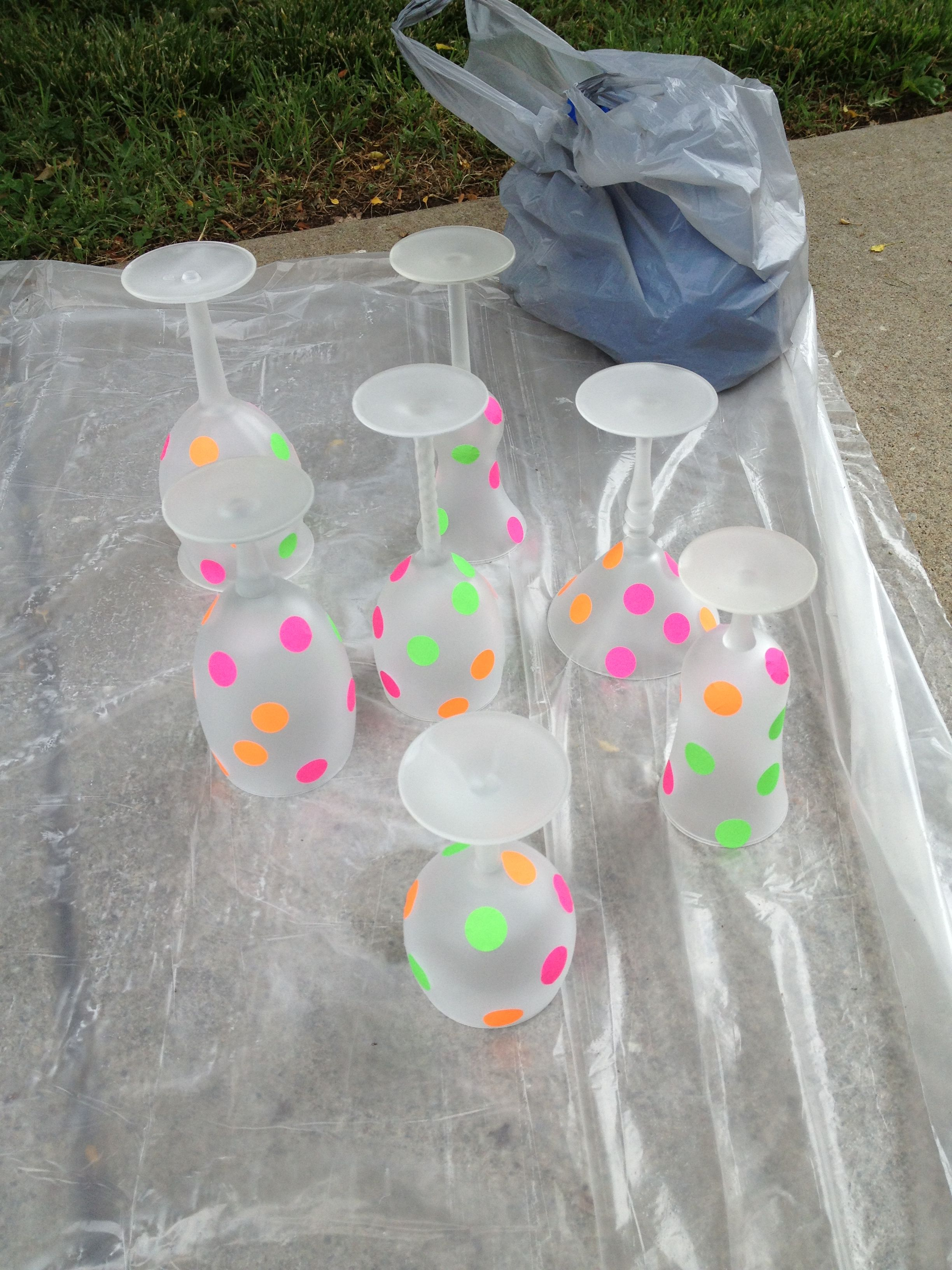 Garage Sale Dots Sprayed Wine Glasses With Frost Spray Paint And Garage Sale Dots