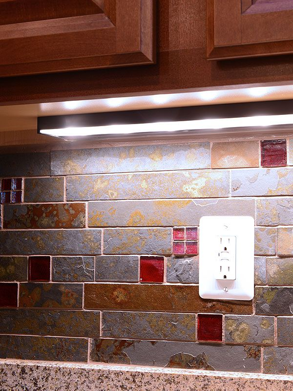 Rusty brown and gray color slate mosaic kitchen backsplash tile ...