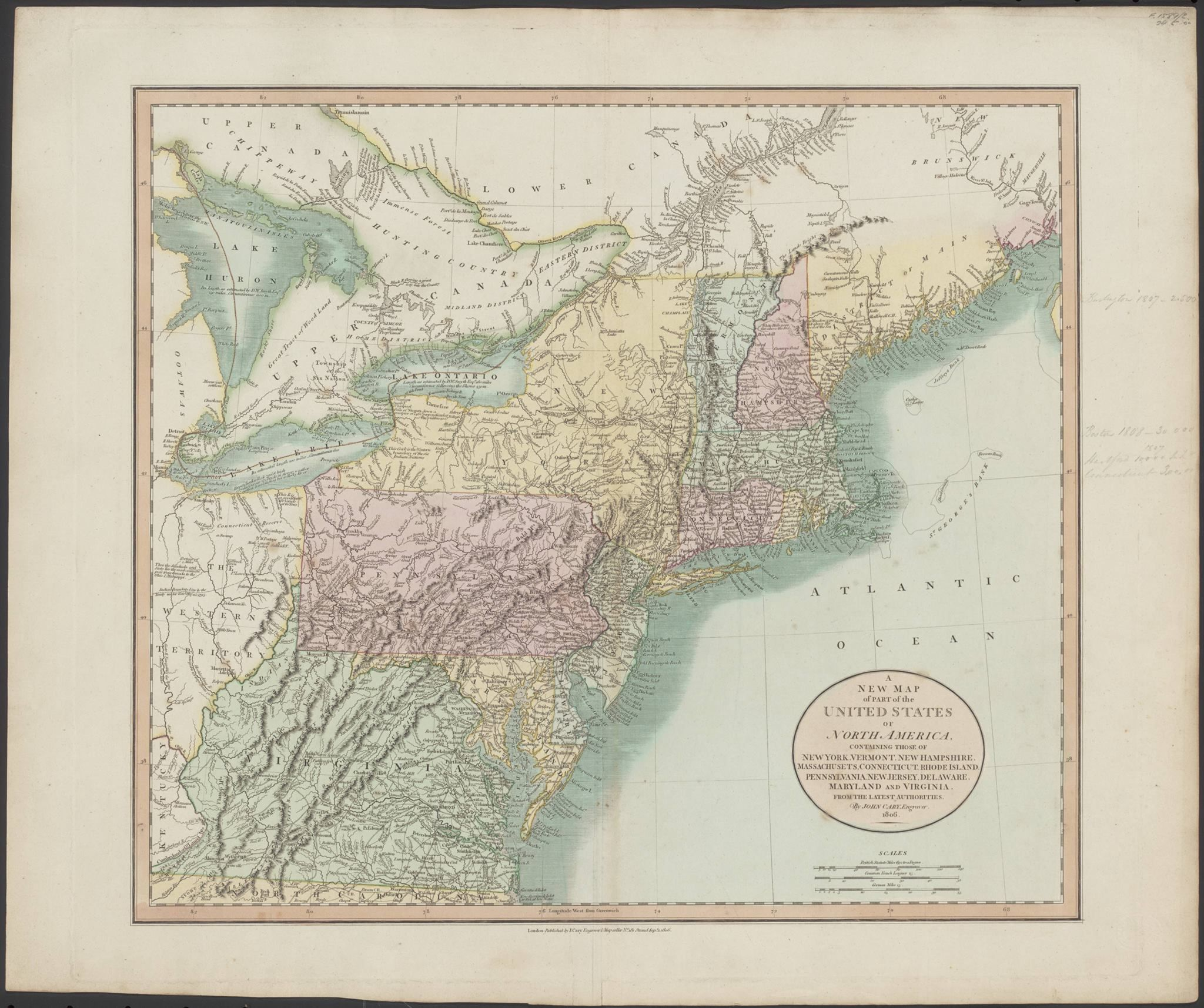 This 1806 map of the northern United States shows how Virginia and