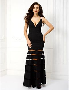 TS+Couture®+Formal+Evening+/+Black+Tie+Gala+Dress+Plus+Size+/+Petite+Sheath+/+Column+V-neck+Ankle-length+Satin+with+Beading+–+USD+$+435.00