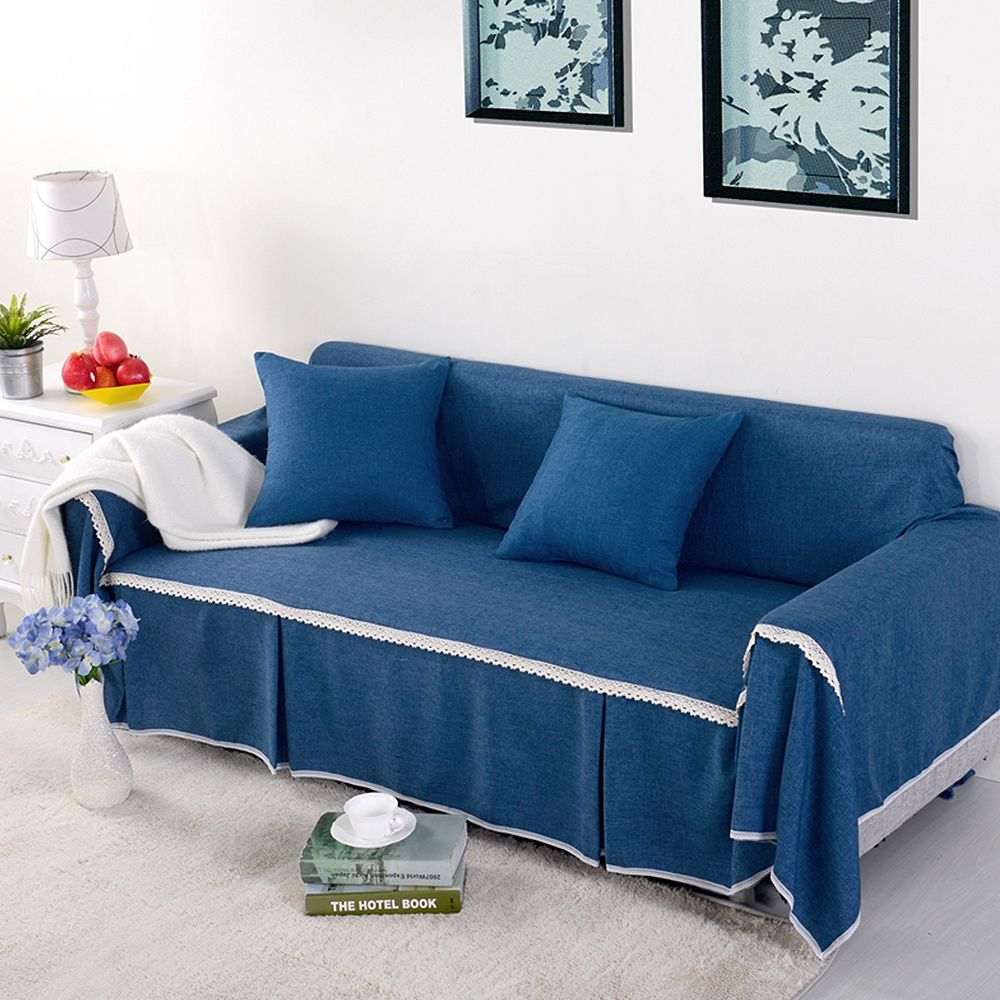 Yazi Solid Color Blue Sofa Slipcover For 1 2 3 4 Seater Couch Cover Polyester Cloth Furniture Dustproof Protector Affil Sofa Covers Couch Furniture Slipcovers