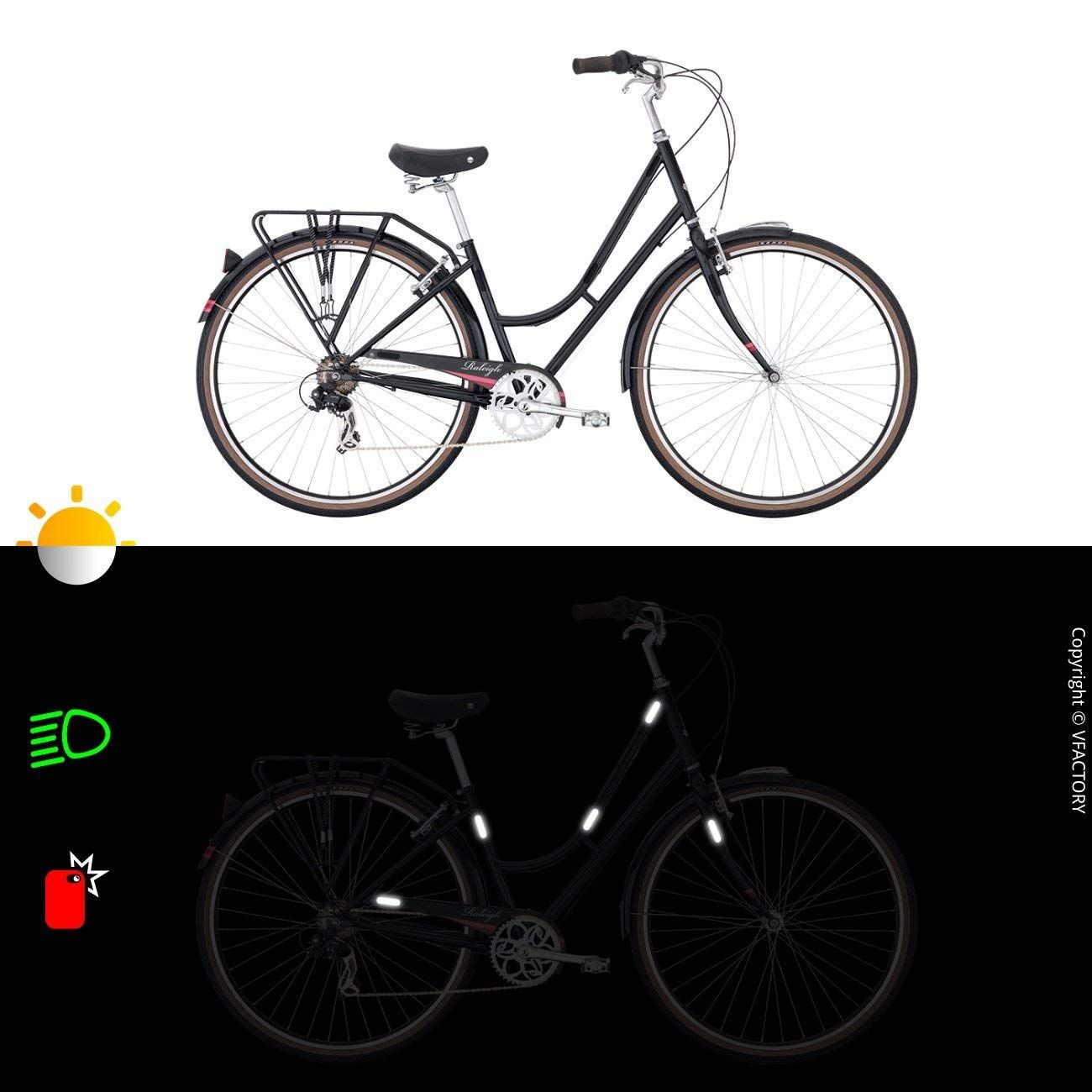 7 x 1,8 cm Night visibility safety B REFLECTIVE, 4 Pack Black 10 retro reflective stickers kit Universal adhesive for Bike//Stroller//Buggy//Helmet//Motorcycle//Scooter//Toys