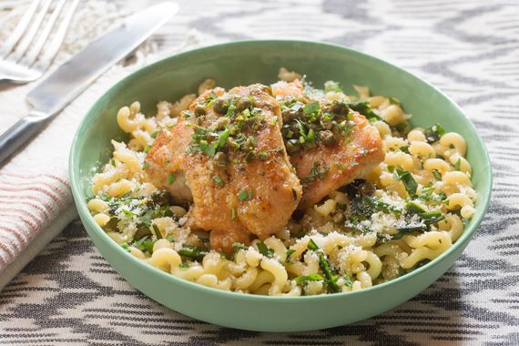 Chicken Piccata with Fusilli Pasta & Garlic Chives. Visit https://www.blueapron.com/ to receive the ingredients.