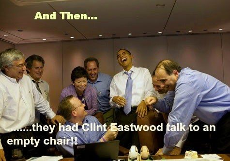Most of us got a good laugh at this but these guys had a hearty laugh!! #RNC2012 | Clint what were you thinking?
